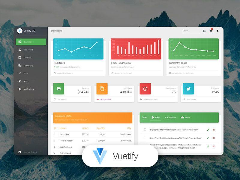 Vuetify Material Dashboard - VueJS