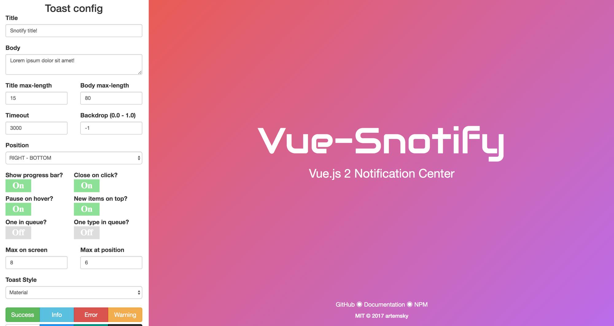 Vue-Snotify - VueJS