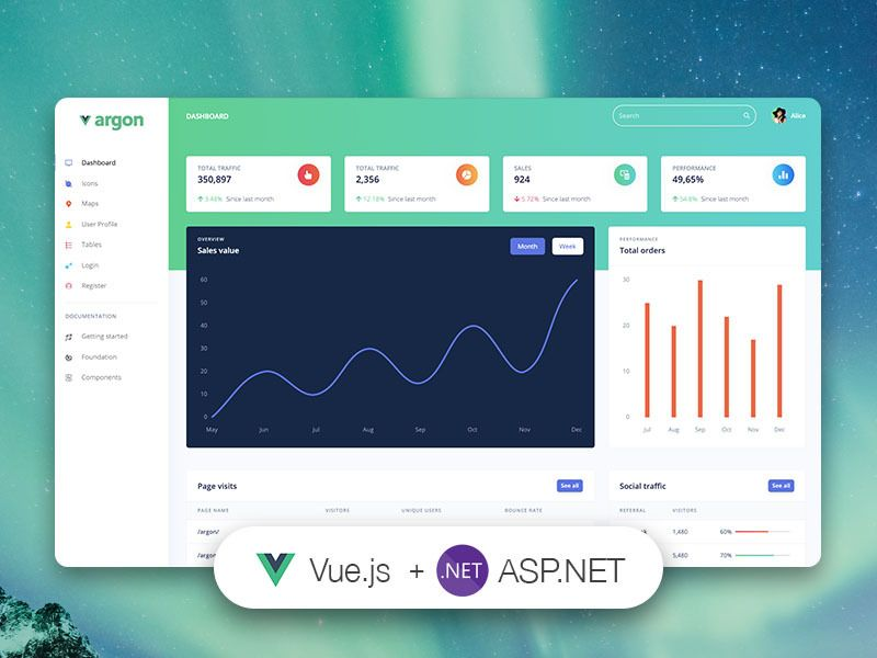 Vue Argon Dashboard Asp.net - VueJS